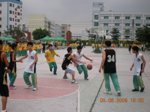 东莞市塘厦镇水霖学校团总支部民办高中竞技迎篮球举行新区光明图片